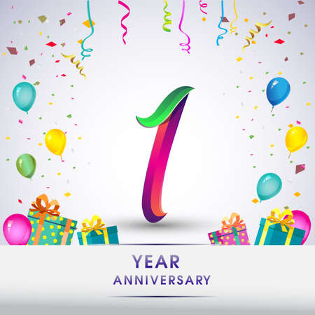 Illustration for 1st Anniversary Celebration Design, with gift box, balloons and confetti, Colorful Vector template elements for birthday celebration party. - Royalty Free Image