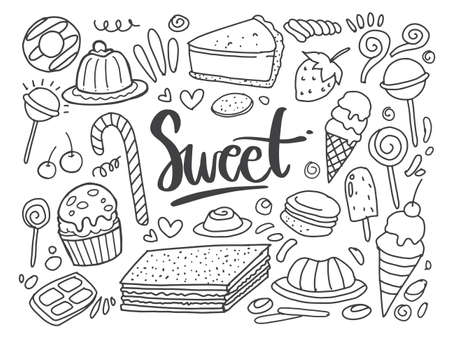 Illustration for Set of drawings on the theme cakes. Cakes, pies, bread, Desserts, sweets, ice cream, muffin and other confectionery products. vector illustration - Royalty Free Image