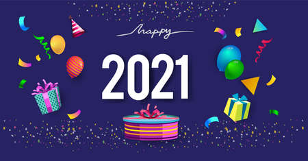 Illustration for Happy new year 2021 typography vector design for greeting cards and poster with balloon, confetti, design - Royalty Free Image