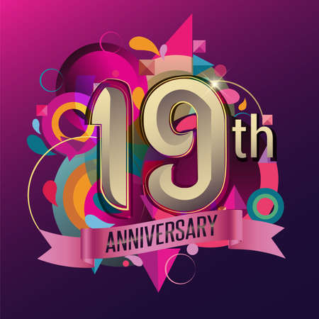 Illustration for 19th years anniversary wreath ribbon logo, geometric background - Royalty Free Image