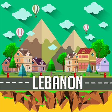 Ilustración de Lebanon - Flat design city vector illustration - Imagen libre de derechos