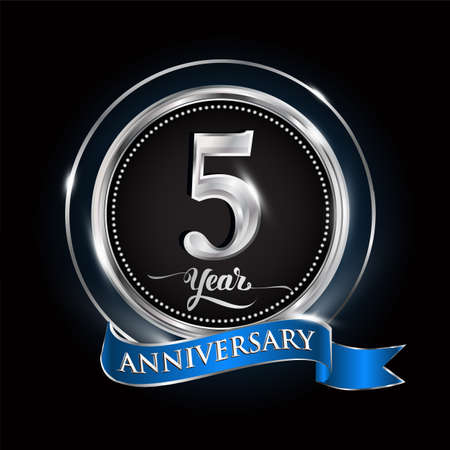 Illustration for Celebrating 5th years anniversary logo. with silver ring and blue ribbon. - Royalty Free Image