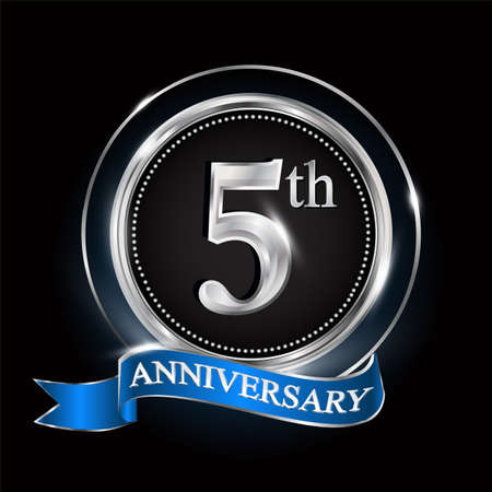 Illustration pour 5th anniversary logo with silver ring and blue ribbon. - image libre de droit