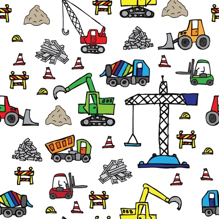 Construction site seamless pattern