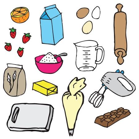 Cake ingredients vector
