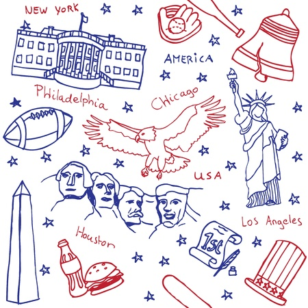 American symbols and icons seamless pattern