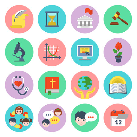Set of flat educational icons of different subjects and concepts