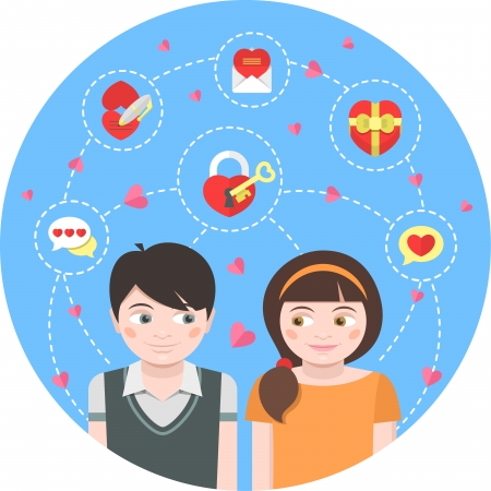 Conceptual illustration of children in love with dating symbols