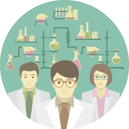 Flat conceptual illustration of scientists in the chemical laboratory