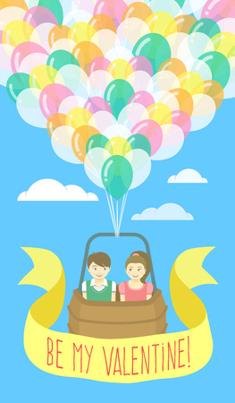 Vector flat stylized illustration of a couple in love flying on balloons with ribbon and greeting inscription. Valentine\'s Day card design.