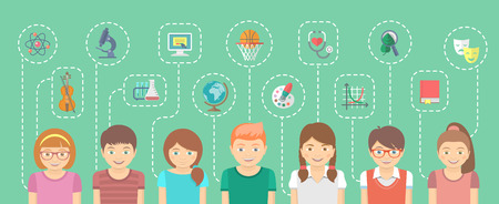 Vector cartoon flat horizontal illustration of a group of kids with icons of their different interests connected by dotted lines. Educational infographics element. School concept.