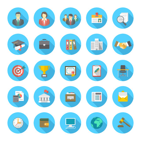 Set of modern flat round icons suitable for business resume and the searching of human resources for a company