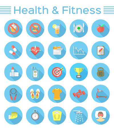 Modern flat vector icons of healthy lifestyle, fitness and physical activity. Diet, exercising in the gym, training equipment and clothing. Wellness icons for website, mobile application or print ads
