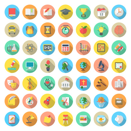 Illustration pour Set of modern flat round vector icons of school subjects activities education and science symbols in colorful circles with long shadows. Concepts for web site mobile or computer apps infographics - image libre de droit