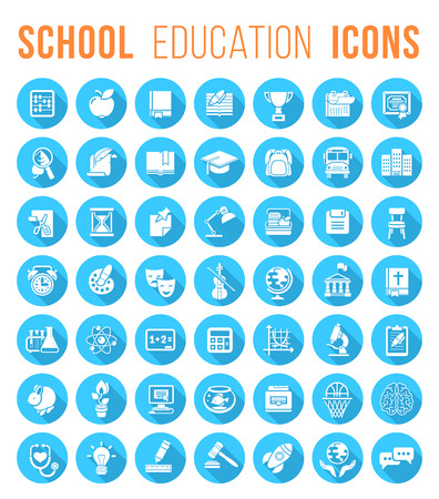 Set of blue round flat monochrome silhouette vector icons of school subjects education and science symbols.