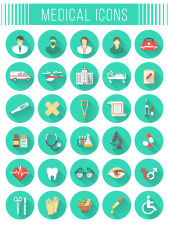 Set of vector flat icons related to subject of medicine, first aid