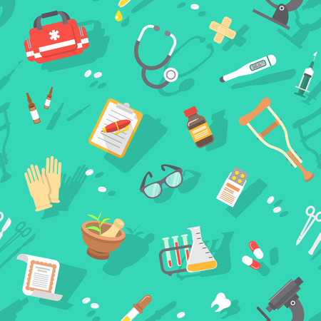 Modern flat vector seamless pattern with scattered icons of medicine