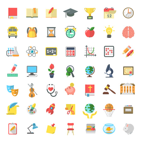 Set of modern flat vector icons of school subjects, activities, education and science symbols isolated on white. Concepts for web site, mobile or computer apps, infographics