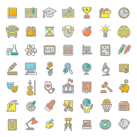 Foto de Set of modern flat line colorful vector icons of school subjects, activities, education and science symbols. Concepts for website, mobile or computer apps, infographics, presentations, promotion - Imagen libre de derechos