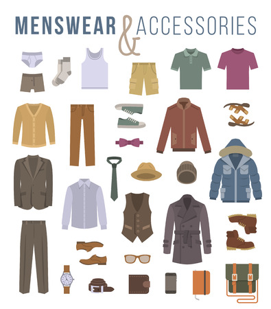 Ilustración de Men fashion clothing and accessories flat vector icons. Objects of male outfit clothes, underwear, shoes and every day essentials for any season. Modern urban casual style elements for man - Imagen libre de derechos