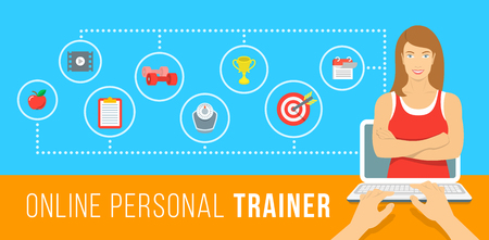 Illustration for Online personal fitness trainer infographic vector illustration. Concept of web training with virtual instructor who gives advice on diet, workouts plan, healthy nutrition, weight loss, goals setting - Royalty Free Image