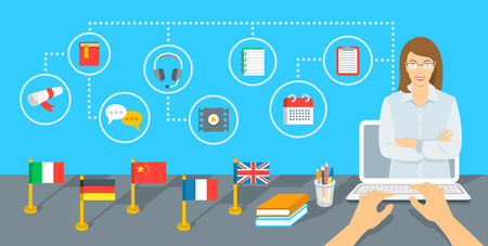 Illustration pour Online Internet language courses flat infographic element. Foreign languages study using computer. English teacher with education icons and flags of different countries standing on a table - image libre de droit