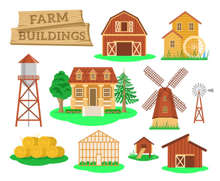 Illustration pour Farm buildings and constructions flat infographic vector elements set. Icons of farmer house, barn, windmill, water mill, greenhouse, water tower etc. Agriculture industry and countryside life objects - image libre de droit
