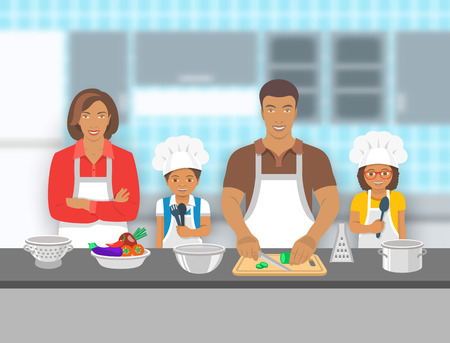 Illustration for Mother,  father and kids cooking together at a kitchen. Dad cuts vegetables for salad, happy little son and daughter help him. African American family pastime background. flat illustration - Royalty Free Image