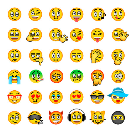 Illustration for Smiley face flat vector icons set. Emoji emoticons. Different  facial emotions and expression symbols. Cute cartoon illustrations of mood and reactions for text chat and web messenger. Ball character - Royalty Free Image