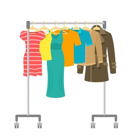 Ilustración de Hanger rack with male and female clothes. Flat style vector illustration. Casual garment hanging on portable rolling metal commercial hanger stand. Everyday outfit sale concept. Fashion collection. - Imagen libre de derechos