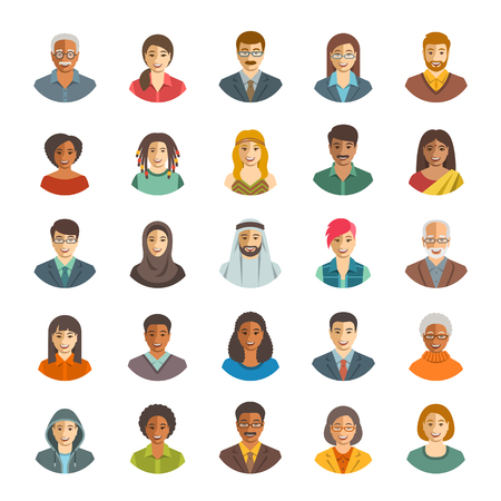Illustration pour People faces avatars vector icons. Flat color portraits of happy men and women, young and senior. Caucasian, African, Asian, Arab ethnicity. Characters with different lifestyles, hairstyles, clothes - image libre de droit