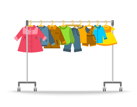 Illustration for Kids clothes on hanger rack. Flat style vector illustration. Casual little kids apparel hanging on shop rolling display stand. Boys and girls outfit fashion collection. Children store sale concept - Royalty Free Image