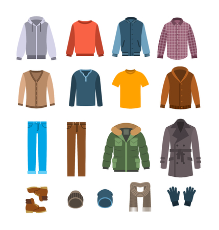 Illustration pour Warm clothes for men. Winter collection of modern male casual outfit. Vector flat illustration. Fashion style icons. Cold season garments. Wardrobe graphic elements - image libre de droit