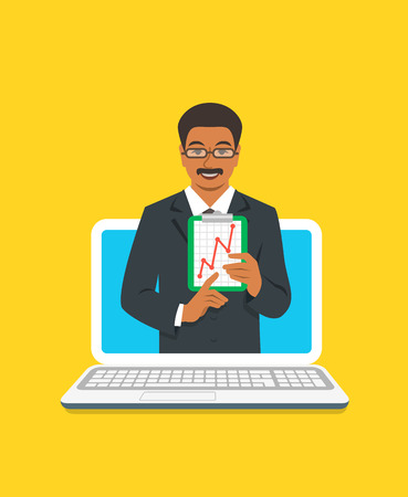 Online business coaching concept. Vector flat illustration. Black man business coach on computer monitor holds graphic of money growth. Business training on internet. Marketing strategy presentation