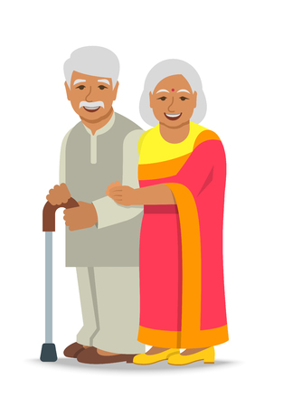 Illustration for Old couple stands together. Elderly Indian woman in sari holds her husband arm. Vector flat illustration. Aged man leans on stick. Happy smiling senior people in retirement. Long married life concept - Royalty Free Image
