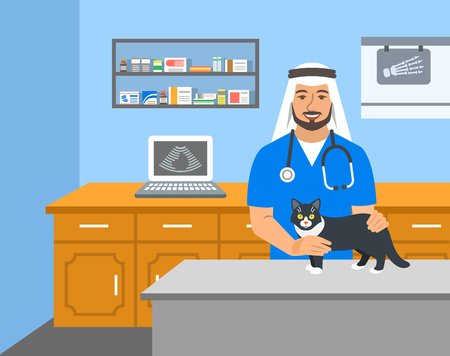 Veterinarian doctor arab man holds cat on examination table in vet clinic. Vector cartoon illustration. Pets health care background. Domestic animals treatment concept. Veterinary professional
