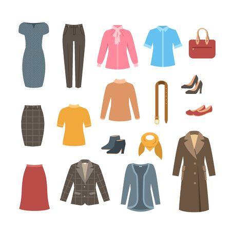 Illustration pour Business woman basic clothes and shoes set. Vector flat illustration. Office formal dress code outfit. Cartoon illustration. Icons of dress, skirt, jacket, coat, trousers, shirt, bag, boots. - image libre de droit