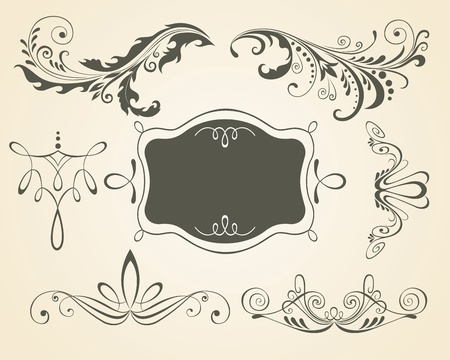 Illustration for Vintage scrolls and frame. Design elements and page decoration. Set.  - Royalty Free Image