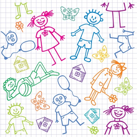 Illustration pour Children's drawings. Seamless background.  - image libre de droit