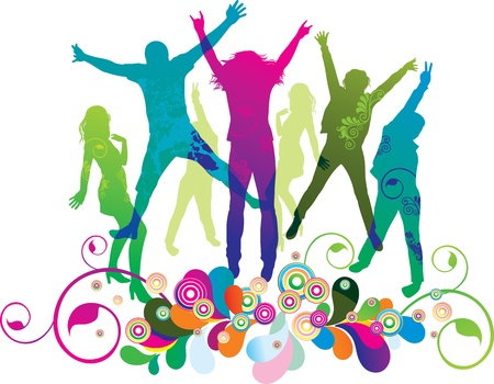 Illustration pour Young people on the party . The dancing teenagers.  - image libre de droit