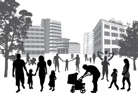 Illustration for Families walking in the town. Lifestyle ,urban background.  - Royalty Free Image