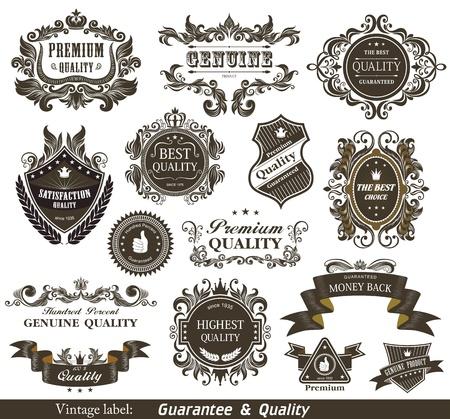 Ilustración de Vintage Styled Premium Quality and Satisfaction Guarantee Label   - Imagen libre de derechos