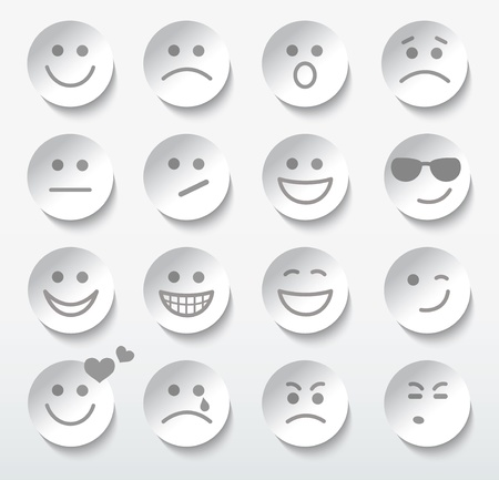 Set of faces with various emotion expressions. のイラスト素材
