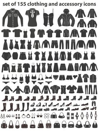 Ilustración de Set of 155 icons: clothing, shoes and accessories. - Imagen libre de derechos