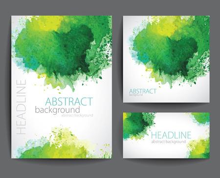 Illustration pour Set of Vector Banners with Green Watercolor Splash. - image libre de droit