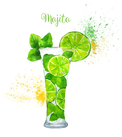 Watercolor Mojito cocktail on the white background. Vector illustration.のイラスト素材