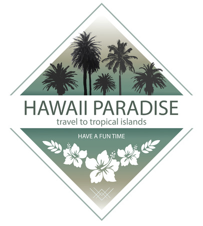 Illustration pour Hawaii Paradise. Summer Travel Background with Palm Trees and Hibiscus. - image libre de droit