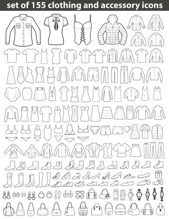 Ilustración de Set of 155 Line Icons: Clothing, Shoes and Accessories. Women's and Men's Fashion. - Imagen libre de derechos