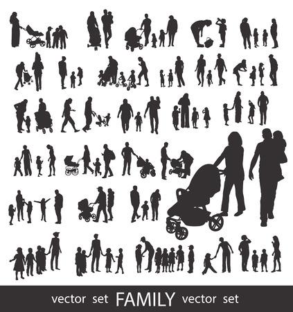 Ilustración de Set of very detailed Family Silhouettes: Men's, Women's and Children isolated on white. - Imagen libre de derechos
