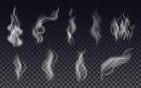 Illustration pour Realistic cigarette smoke waves or steam on transparent background. Vector Set. - image libre de droit